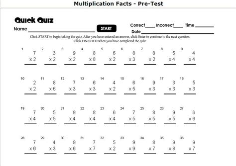 printable multiplication timed test worksheet homeschool parent multiplication self correcting timed tests
