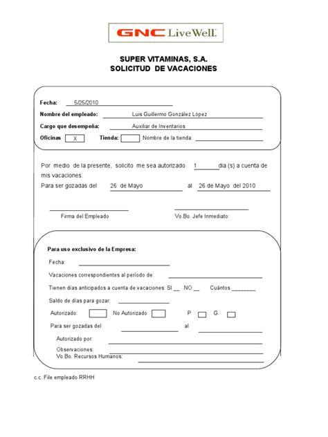 formato modelo ejemplo solicitud de adelanto de scribd formato de solicitud vacaciones