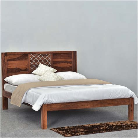 Diamond Lattice Solid Wood Rustic King Size Platform Bed Frame Rustic King Bed Frame