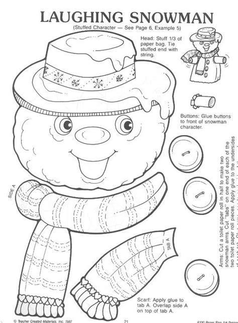 christmas arts and crafts printables snowman paper bag craft learningenglish esl