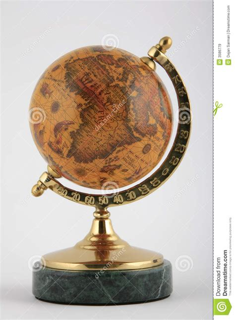 antique globe l old globe on marble base royalty free stock images image