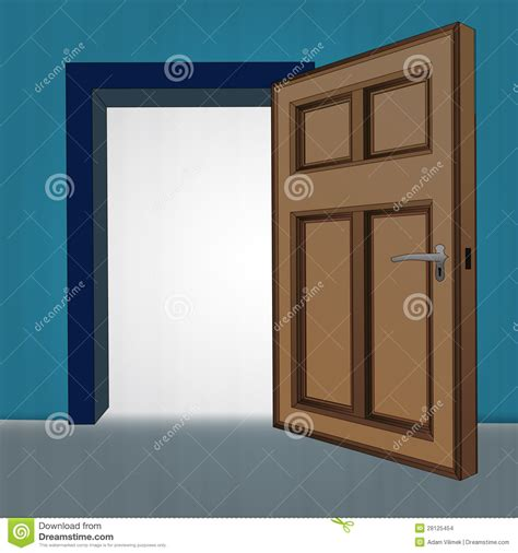 Unlock Interior Door Interior Wooden Open Door At Blue Wall Stock Images Image 28125454