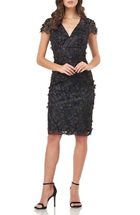 carmen marc valvo infusion petals embellished cocktail dress  black modesens