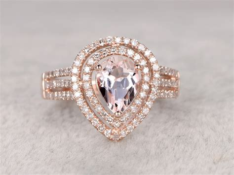 1 carat pear shaped morganite engagement ring