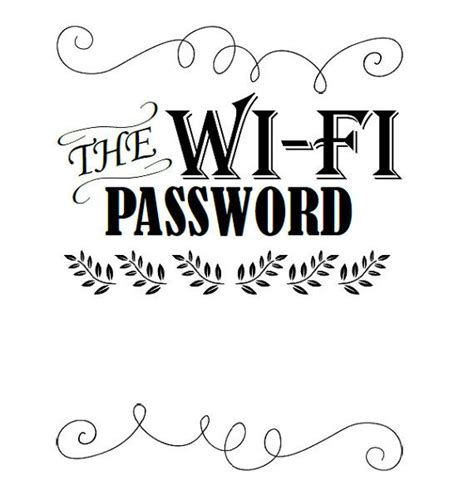 Guest Bedroom Home Wifi Password Sign The Wifi By Ourwonderfullife For The Home Pinterest Free Wifi Poster Template