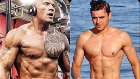 the rock and zac efron prepare to hit the beach for