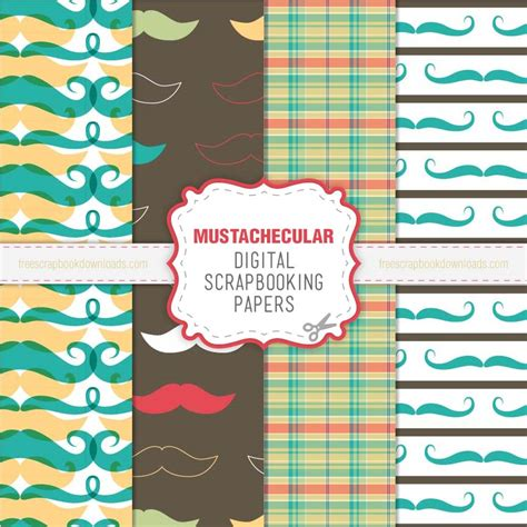 How To Make Paper Mustaches - mustachecular mustache papers for digital scrapbooking