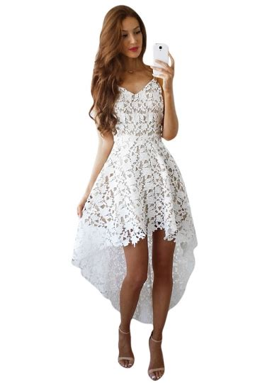 60013 Import Lace Satin Premium Dress White Layered Lace Sml collection of hi low dress best fashion trends and models