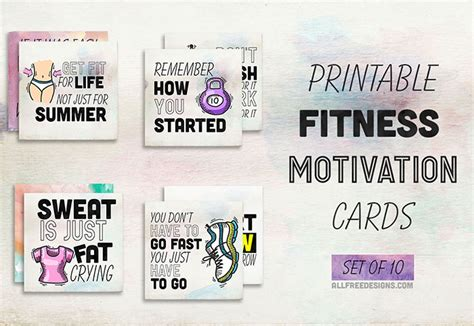 Fitness Gift Card Template - fitness motivation cards 10 printable reminders to keep you going