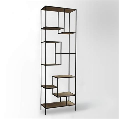 Reclaimed Pine Iron Bookcase West Elm Iron Bookshelves