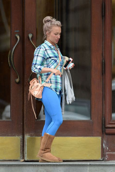 Hayden Panettiere Licks by Hayden Panettiere In Blue Tights Out In Los Angeles