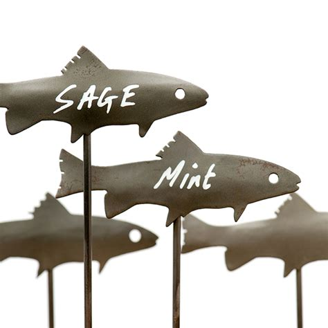 Home Decorative Plants buy metal fish plant markers