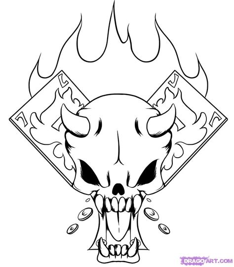 coloring pages fire skulls how to draw a gambler skull step by step skulls pop