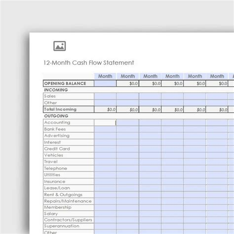 12 Month Cash Flow Statement Pdf Form Yvoxs 12 Month Flow Statement Template