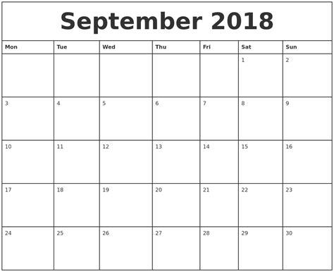 printable calendar 2018 september september 2018 printable monthly calendar