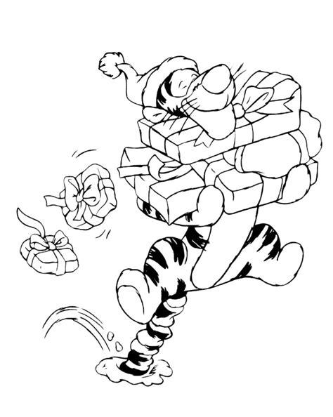 clipart natale da colorare winnie the pooh tigro porta i regali di natale
