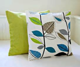 decorative pillows teal blue lime green leaves accent lime