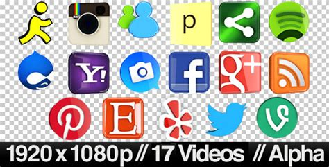 17 Videos of 3D Social Media Icons Rotating   Loop by