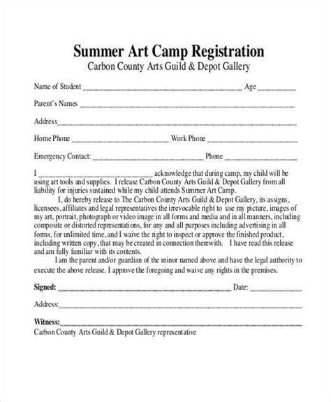 10 Summer C Registration Form Sles Free Sle Exle Format Download Summer C Release Form Template