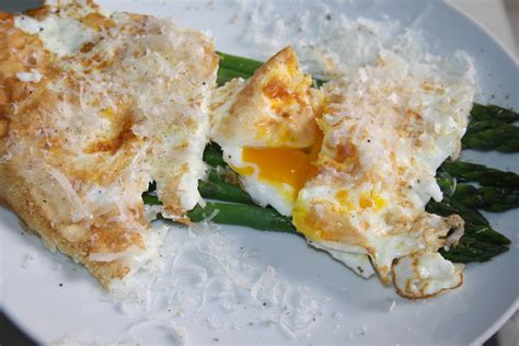 fried parmesan asparagus with fried egg and parmesan cheese recipe dishmaps