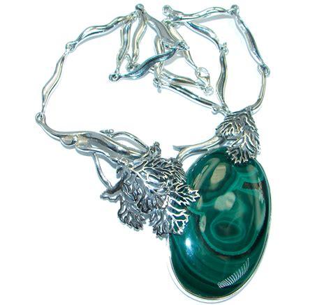 Silver Handmade Jewelry Set Malachite - unique genuine malachite oxidized 925 sterling