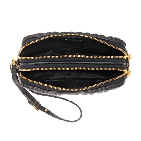 Miu Miu Large Black Satin Clutch by Miu Miu Matelass 233 Black Leather Clutch In Black Lyst