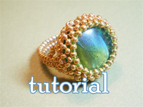 seed bead weaving tutorials green beaded cocktail ring pdf tutorial bead