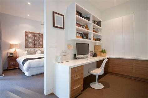 bedroom home office wooden cabinets brings warmth to the home office in white