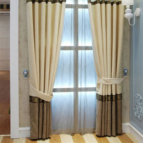elegant curtains for bedroom simple chenille brown spliced elegant curtains bedroom