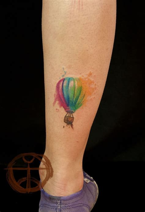 hot tattoos watercolor air balloon rainbow