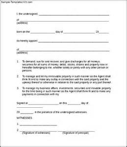 template for power of attorney form power of attorney form sle sle templates