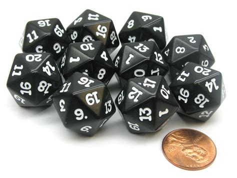 19mm Dice set of 10 twenty sided 19mm d20 opaque rpg dice black
