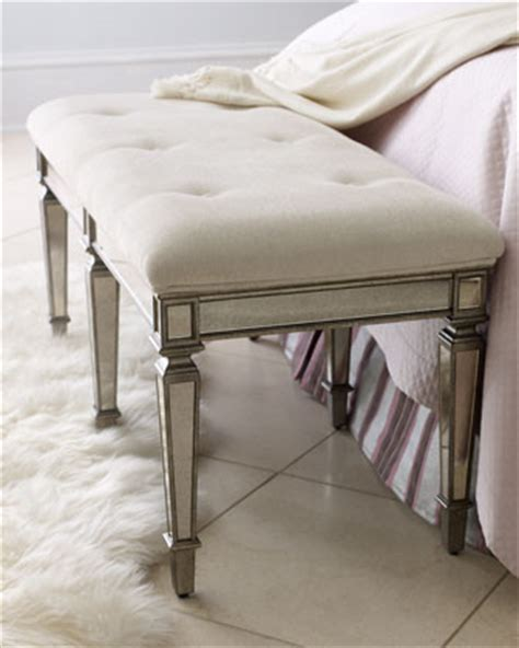 mirrored bedroom bench quot denison quot mirrored bench traditional upholstered