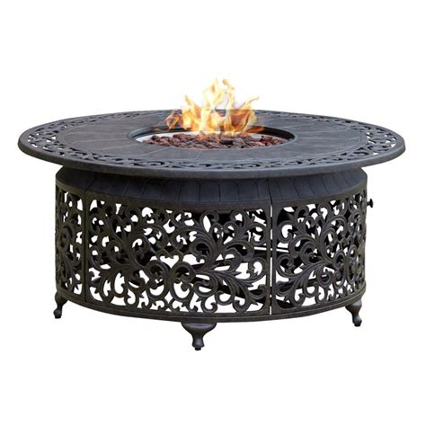 backyard fire pit lowes shop paramount fp 251 round outdoor propane fire pit table
