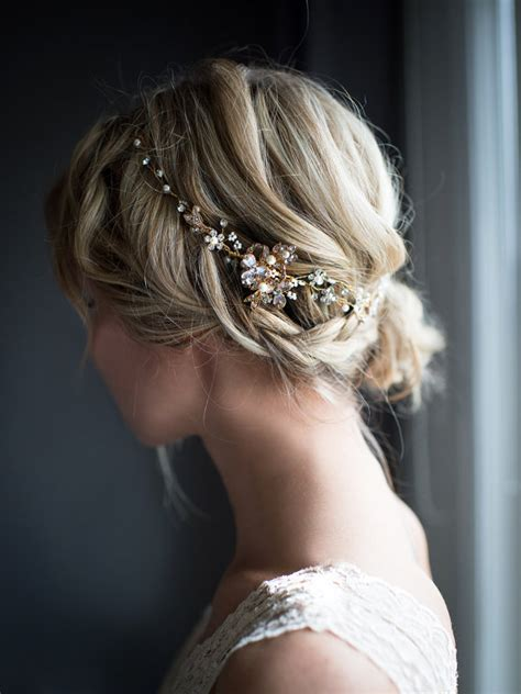 a gold sprayed flower crown wedding hairstyles photos flower crown boho gold hair vine rose gold gold silver halo