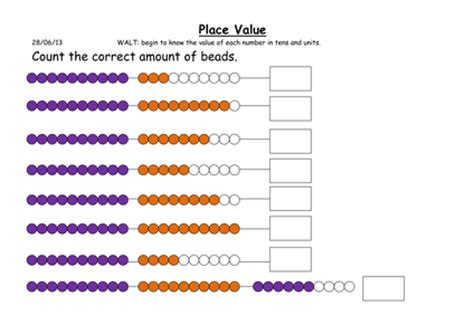 String Worksheets - tens and units worksheets using beaded string by