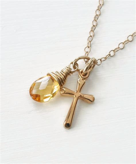 Kalung Birthstone 12 Bulan Birthstone Charm Pendant July Nec T2909 small gold filled cross necklace with birthstone for november blue room gems