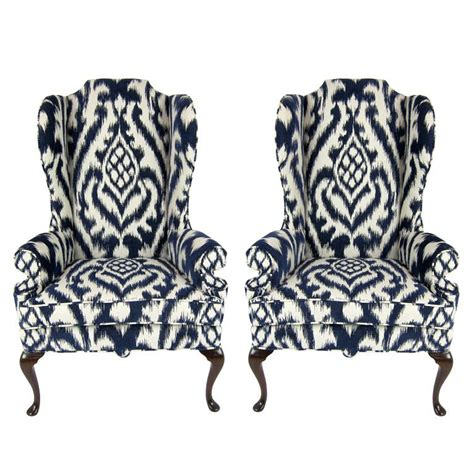 ikat armchair pair of high back wing chairs upholstered in woven ikat at 1stdibs