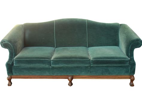vintage emerald green velvet sofa with claw feet chairish