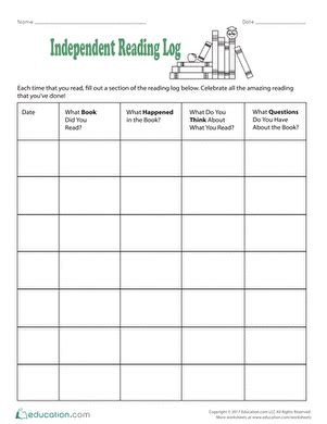 Independent Reading Worksheets Reading