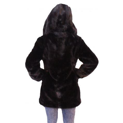 Hooded Coat black fur hooded coat