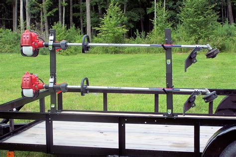 Weedeater Racks For Trailer by Trimmer Lockable Landcape Trailer Rack 2 Place Pack Em Racks