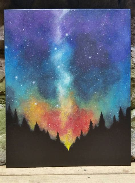 acrylic painting sky tutorial sky forest original acrylic painting by