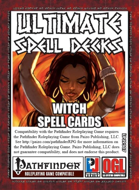 Pathfinder Spell Card Template by Paizo Ultimate Spell Decks Witch Spell Cards Pfrpg