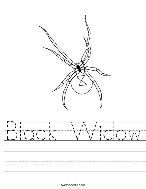 coloring pages black widow spider black widow worksheet twisty noodle