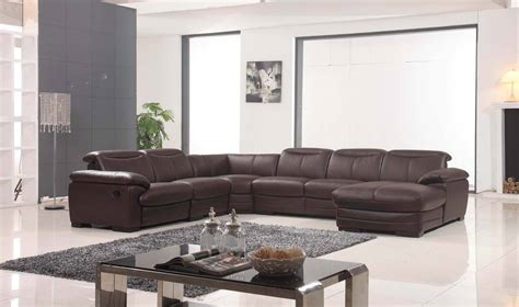 Leather Sofa Sectional Recliner Large Brown Leather Contemporary Sectional Set With Recliner Chair Portland Oregon Esf 2146