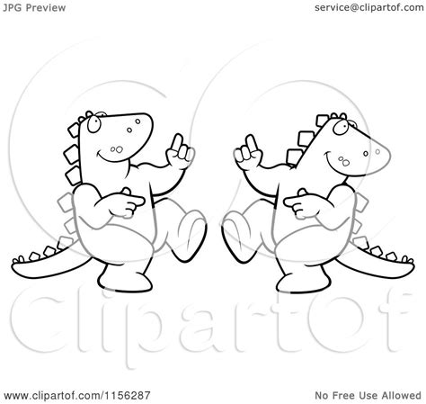 dancing dinosaur coloring page cartoon clipart of a black and white dancing dinosaur