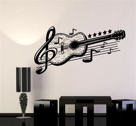 music wall decor vinyl wall decal guitar musical art music decor stickers mural 443ig wall decals exterior