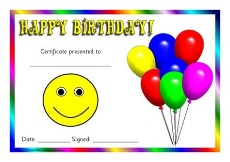 printable birthday cards ks1 student birthday certificate template gallery