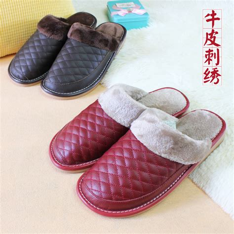 indoor slippers for guests real genuine leather home slippers unsex warm